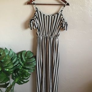 Striped cold-shoulder maxi dress